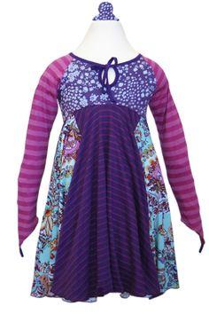 Girls Boutique Dresses | Twirly Fun Purple & Pink Stripes | TwirlyGirl®