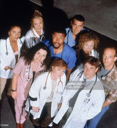 Promotional portrait of cast members from the television series, 'E.R.,' c. 1997. L-R: Gloria Reuben, Julianna Margulies, Maria Bello, Sherry Stringfield, Eriq La Salle, George Clooney, Alex Kingston, Noah Wyle and Anthony Edwards.