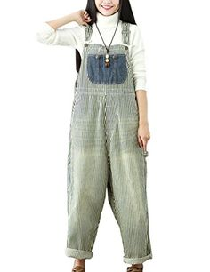 1e1c0f032cb4 Flygo Women s Loose Baggy Cotton Wide Leg Jumpsuits Rompers Overalls Harem  Pants (One Size