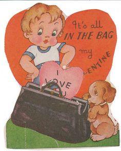 Vintage Valentine Card Boy Cocker Spaniel Dog in The Bag Die Cut for Children | eBay