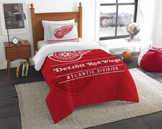 [[start tab]] Description Get drafted with the pros with this Detroit Red Wings NHL Draft Twin Comforter and Sham Set! This super soft and cozy set is designed with your favorite hockey team's logo, n