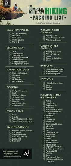 The Complete Hiking Packing List – Best Hiking Gear For Beginners – Backpacking Gadgets – Hiking Equipment List for Women, Men and Kids hiking and camping, day hiking essentials, hiking funny Checklist Camping, Camping List, Camping And Hiking, Camping Hacks, Camping Guide, Winter Camping, Outdoor Camping, Kids Hiking, Tent Camping