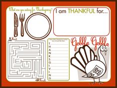 Super cute activity placemat for kids on Thanksgiving! I thik Im going to use these next Thanksgiving. We need Easter and Christmas placemats too Thanksgiving Placemats, Free Thanksgiving Printables, Thanksgiving Activities For Kids, Thanksgiving Crafts, Holiday Crafts, Holiday Fun, Holiday Ideas, Free Printables, Holiday Activities