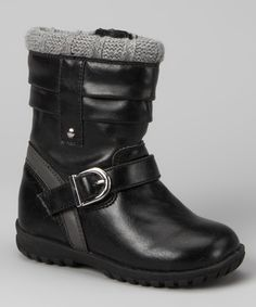 Black Buckle Boot #zulily