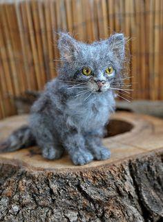 Needle felted Animal . Felted Cat . Gray Kitten. by darialvovsky