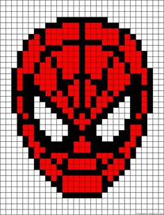 Spiderman perler bead pattern could also work as a cross stitch pattern Hama Beads Patterns, Loom Patterns, Beading Patterns, Embroidery Patterns, Mosaic Patterns, Beaded Cross Stitch, Cross Stitch Embroidery, Cross Stitch Patterns, Hand Embroidery