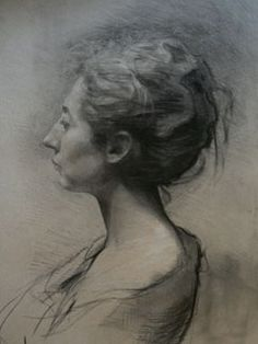 """Pablo Simunovic, """"Claudia"""", Charcoal on toned paper, 2009"""