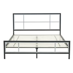 queen size modern platform metal bed frame with headboardfootboardwooden slats