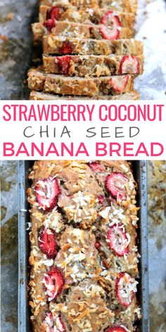 Strawberry Coconut Chia Seed Banana Bread Strawberries, coconut, chia seeds… what more could you want? Not to mention, this strawberry banana bread is easy to make and only 160 calories per slice! What Is Healthy Food, Good Healthy Recipes, Healthy Baking, Whole Food Recipes, Healthy Snacks, Snack Recipes, Cooking Recipes, Eat Healthy, Healthy Strawberry Recipes