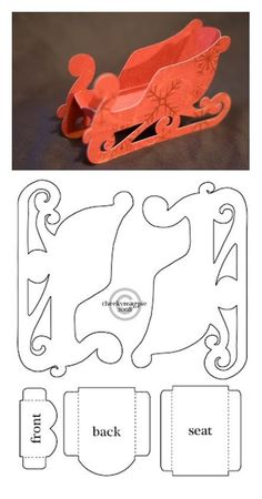 slitta di carta Schlitten aus Papier sleigh with patternSchlitten aus Papier - can't wait to try this one - maybe emboss the paper first?Sleigh template - make a large one from cardboardSjabloon voor een arreslee *** A template for a sleighPaper Chri All Things Christmas, Christmas Holidays, Christmas Decorations, Christmas Ornaments, Christmas Sleighs, Paper Ornaments, Felt Decorations, Christmas Projects, Holiday Crafts