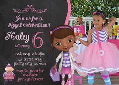 Doc McStuffins Birthday Party Invitation birthday invite Disney junior party doctor Girl Chalkboard Card Printable