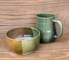 Coffee Cup Bowl Breakfast Set. Stoneware Mug by LittleRiverPottery