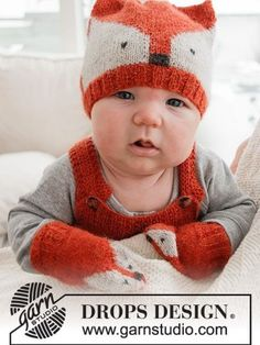 Baby Knitting Patterns, Free Knitting, Crochet Patterns, Knitting Designs, Fox Pattern, Mittens Pattern, Pants Pattern, Drops Design, Drops Baby