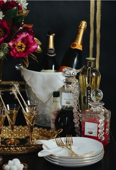 Love the silver ric rac tied around the bottles & decanters [Champagne Bar via Camille Styles] #holidayentertaining
