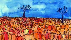 Pumpkin Patches. 3rd grade students used watercolor paint while learning about perspective, overlapping, silhouettes and landscapes.