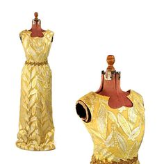7e918cea5adca Vintage 1960's Yellow + Metallic Gold Lurex Autumn Leaf Beaded Evening Gown  Long Party Dress S
