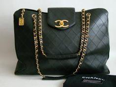 Chanel Black XL Jumbo Weekender Overnighter Travel Tote Bag