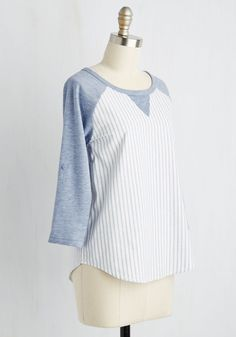 Walk in the Ballpark Top. Hitting home-run style is a cinch thanks to the effortless flair provided by this raglan top! #blue #modcloth