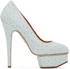 CHARLOTTE OLYMPIA Blue Ostrich-Embossed Dolly Heels. #charlotteolympia #shoes #pumps
