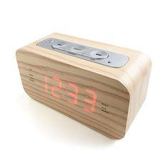 Wood Style Alarm Clock Radio Dimmer Snooze and Sleep Function LED Display Flip Alarm Clock, Retro Alarm Clock, Alarm Clocks, Wooden Clock, Wooden Case, Digital Radio, Digital Alarm Clock, Radios, Spare Room Office