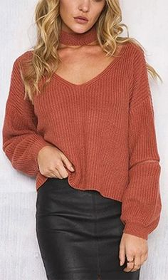 Layer By Layer Rust Orange Long Sleeve Loose Zipper Elbow V Neck Detachable Choker Pullover Sweater