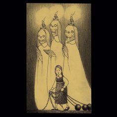 regram @johnkennmortensen #ghost #three #candle #ballnchain #spooky #scary #creepy #johnkennmortensen #donkenn