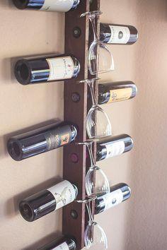 Wall Wine Rack 9 Bottle 4 Glasses Handmade by AdliteCreations Wood Wine Racks, Wine Rack Wall, Wine Shelves, Bottle Rack, Wine And Beer, Tasting Room, Wine Cellar, Wood Art, Home Projects
