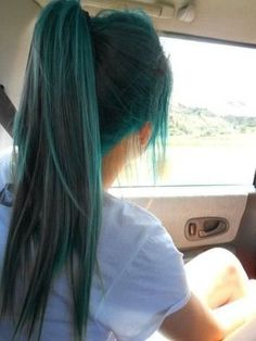 Colorful hair, teal hair, green hair, ponytail