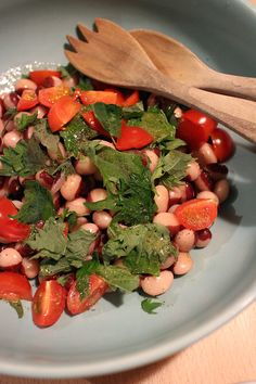 dinner on Sat. panda bean salad with Shiso & cherry tomatoes, red wine