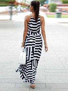 Asymmetric Striped Halterneck Maxi Dress