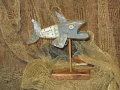 Primitive Folk Art Fish with Rusty Metal OOAK