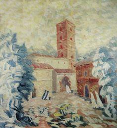 Vittorio Viviani, S. Scolastica's Cloister in Subiaco, oil on canvas, 120x100cm, 1980.
