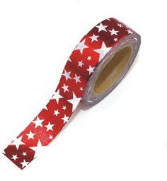Washi tape rojo estrellas laminado: