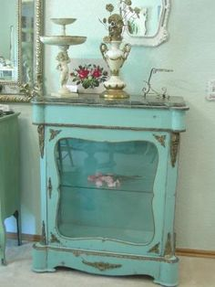 Hand painted; love the robin's egg blue paint