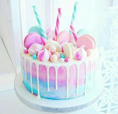 20 ideas for birthday cake girls parties food Candy Birthday Cakes, Beautiful Birthday Cakes, Birthday Cake Girls, Beautiful Cake Designs, Beautiful Cakes, Amazing Cakes, Stunningly Beautiful, Pretty Cakes, Cute Cakes