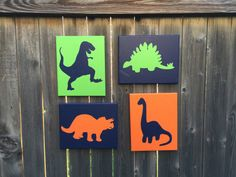 Hey, I found this really awesome Etsy listing at https://www.etsy.com/ca/listing/482214477/set-of-4-hand-painted-dinosaur-wall-art