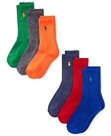Ralph Lauren 6-Pk. Sport Crew Socks, Little Boys (2-7) & Big Boys (8-20)