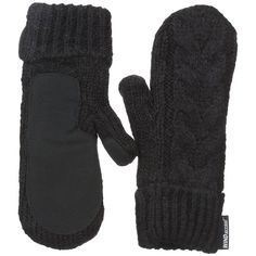 Outdoor Research Pinball Mittens (Black) Extreme Cold Weather Gloves ($35) ❤ liked on Polyvore featuring accessories, gloves, leather palm mittens, cable knit mittens, cold weather gloves, fleece lined mittens and cable knit gloves