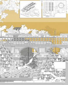 """Bartlett Unit 10 on Instagram: """"Inspired by F. Scott Fitzgerald's The Great Gatsby, 'The Sweet Proposal' of Nestlé in York, is a critique of urban privatisation and a…"""" Architecture Concept Drawings, Architecture Collage, Architecture Visualization, Architecture Portfolio, Architecture Design, The Great Gatsby, Collage Illustration, Graphic Illustration, F Scott Fitzgerald"""