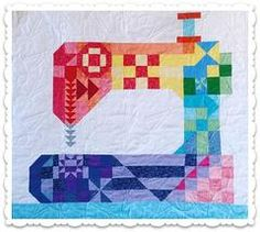 Sewing Machines Best - Stitch Happens is a scrap friendly 37 inches x 40 inches quilt, great for hanging in your sewing space. It is simple and fun to piece and could also be easily adjusted to a lap quilt with the addition of some colorful borders. Sampler Quilts, Scrappy Quilts, Mini Quilts, Patchwork Quilting, Quilting Room, Quilting Projects, Quilting Designs, Sewing Projects, Sewing Tips