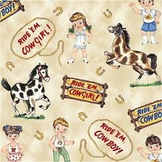 Windham Fabrics PAPER DOLL COWBOY Paper Dolls yards