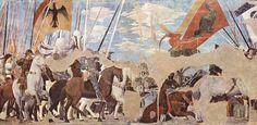 Piero storie della croce-Vittoria di Constantino su Massenzio No 12 - Battaglia di Ponte Milvio (312): Costantino mostra la Croce agli avversari, che si ritirano sconfitti.