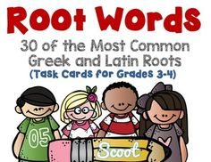 ROOT WORDS 30 TASK CARDS for grades 3-4.Need to review Root Words? Here are 30 of the most common Greek and Latin roots. Sorted in alphabetical order.Common Core Aligned to:CCSS.ELA-LITERACY.L.3.4.CUse a known root word as a clue to the meaning of an unknown word with the same root (e.g.,company, companion).CCSS.ELA-LITERACY.L.4.4.BUse common, grade-appropriate Greek and Latin affixes and roots as clues to the meaning of a word (e.g.,telegraph, photograph, autograph).A great way to use them…