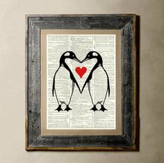Penguin Love - Printed on a Vintage Dictionary Page 8X10 on Etsy, $6.50