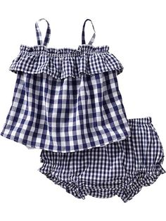 Ruffles are always fun. This link goes to a collection of ruffles for women and kids. - Old Navy ruffle tank and bloomer set, $16.94 I love the navy gingham and ruffles, so classic for summer for babies and kids.