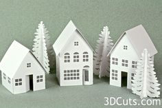 Tea Light Village, 3DCuts.com, Marji Roy, 3D cutting files in .svg, .dxf, and .pdf formats for use with Silhouette and Cricut cutting machines, paper crafting files, basic buildings