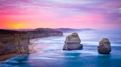 The Twelve Apostlesis a collection oflimestonestacksoff the shore of thePort Campbell National Park, by theGreat Ocean RoadinVictoria,Australia. One of the most well-known highlights of the Great Ocean Road is The Twelve Apostles.   #great ocean road #landmarks #tourism #travel #twelve apostles