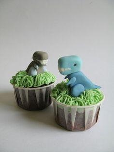 Dinosaur Cupcakes for John's Bass-a-saurousrex birthday