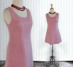 VINTAGE 1960s MOD Pink Wool MINI dress  Pink Mod by DustyDesert