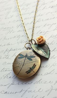 Picture Locket Necklace Rose Charm Verdigris - I think these will be my craft room motifs - roses, verdigris and dragon flies